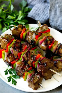 Shish kebab Shewer on a plate