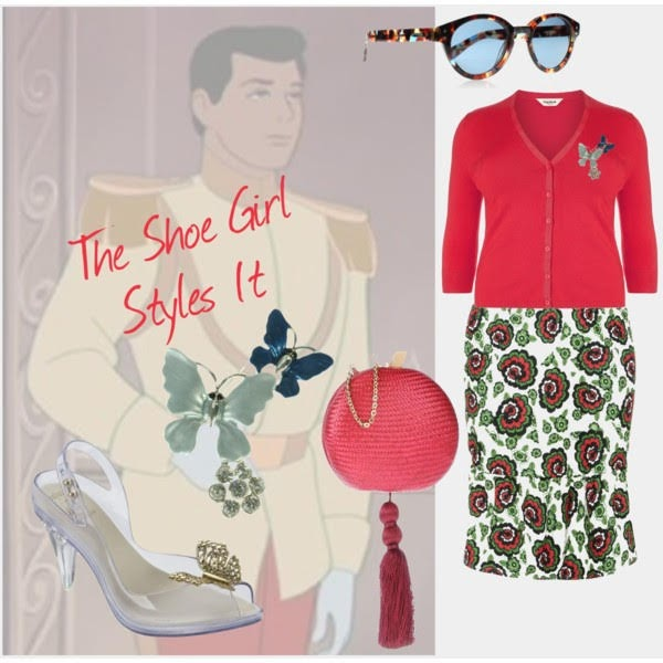 Polyvore set of mid priced plus size outfit for Melissa Disney Cinderella Lady Dragon shoes