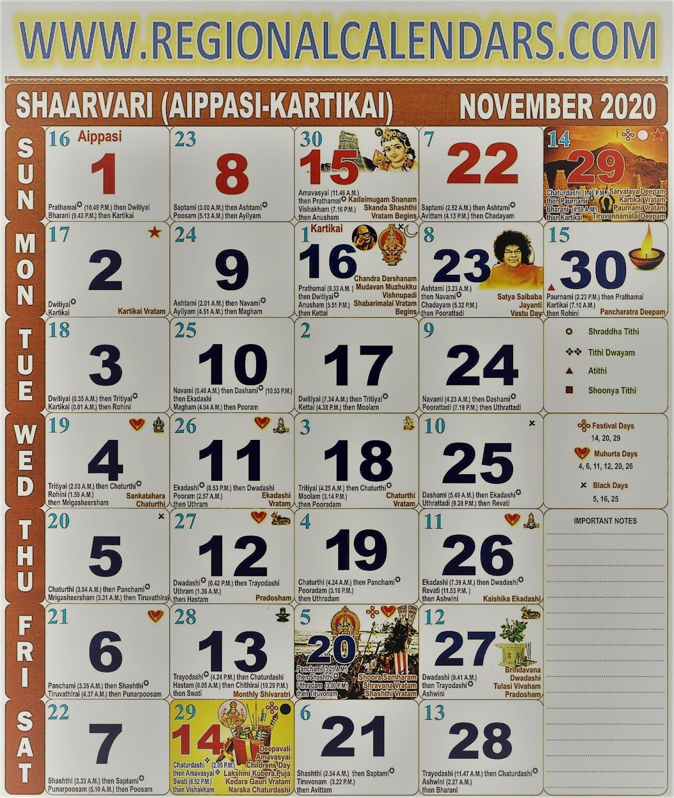 Tamil Calendar. November,2020.