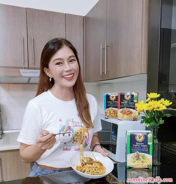 Easy Tasty Healthy, Ayam Brand, Healthy, Ready to Eat Frozen Meals, organic pasta, spicy shrimp, green curry, Saba tomato, food