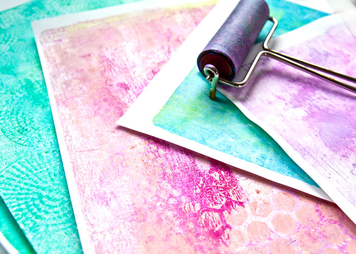 Close-up of quick Gelli Plate printed paper from a video by Kim Dellow