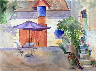 Water colour painting of the Old Walnut Mill a Loire Valley holiday home
