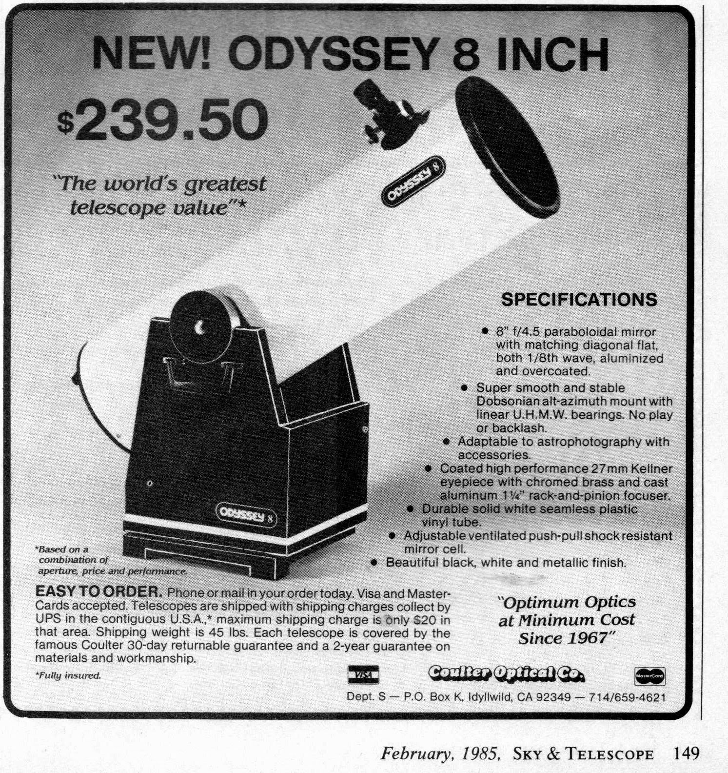 Astronomy Ad of the Day: FEBRUARY, 1985 (Sky & Telescope)