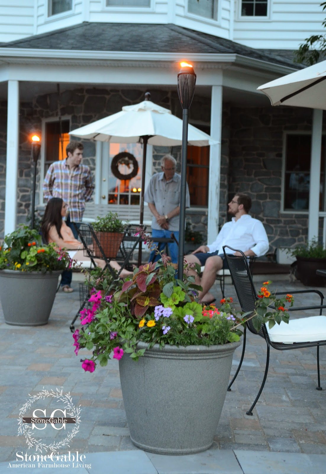PATIO REVEAL AND GIVEAWAY - StoneGable on solar chandeliers, flickering solar torches, solar plants, solar ice chest, solar products, solar wind chimes, solar tiki lamps, solar island torches, solar pools, solar outdoor shower, solar boilers, solar bikes, solar torches flicker flame, solar stoves, solar twinkle lights, solar flashlights, solar flickering tiki lights, solar tiki masks,