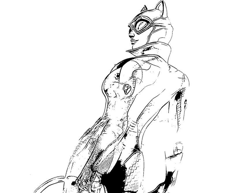 Batman Arkham City Catwoman Character Coloring Pages title=