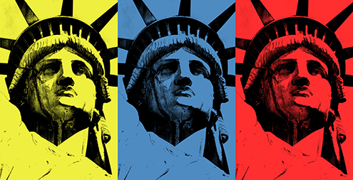 lady liberty illustration statue of liberty vector new york city por art graphic design art photoshop inkscape free estatua de la libertad nueva dibujo drawing estilo andy warhol style tryad primary colors triada de primarios amarillo azul rojo yellow blue red