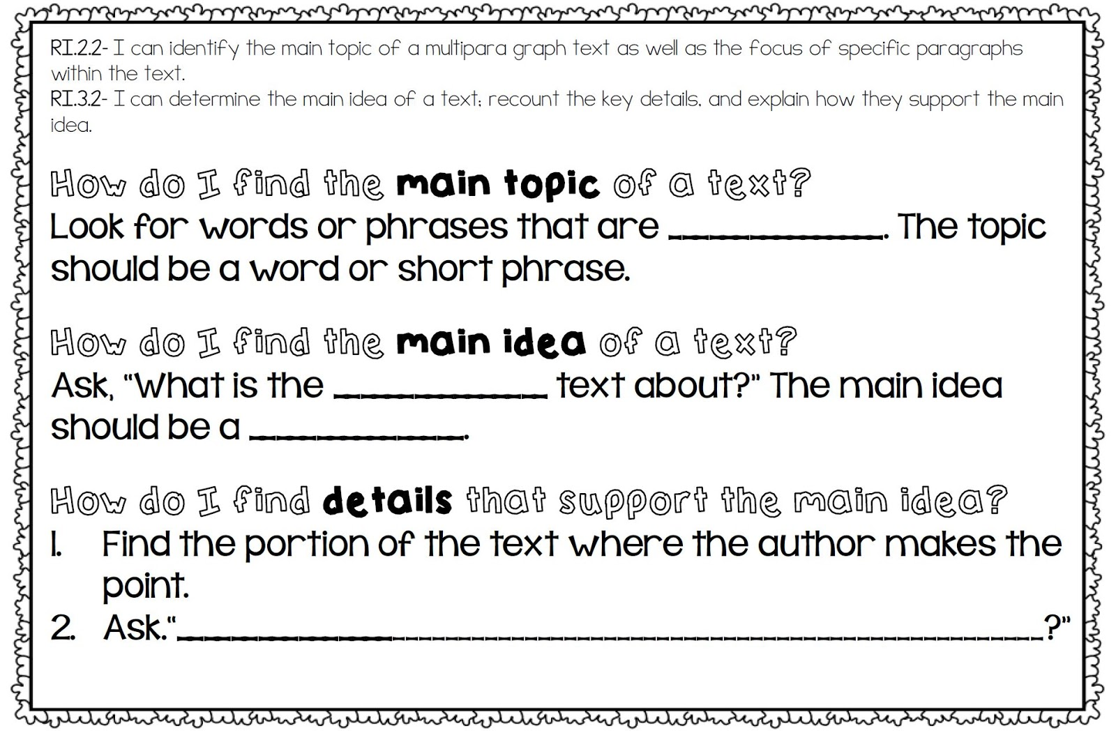 Worksheet Read The Passage And Answer The Questions how i teach the common core reading informational text standards model to read a passage and answer questions based on standard you can put projector or piece of chart