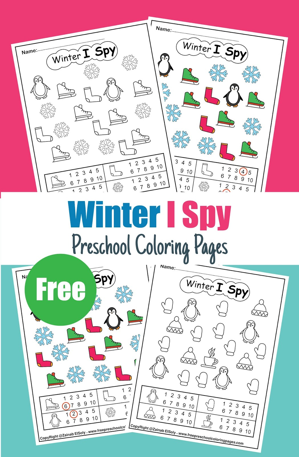 Winter I Spy Coloring Pages Game