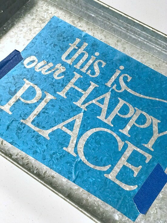 Make a Personalized Galvanized Tray with a Vinyl Stencil
