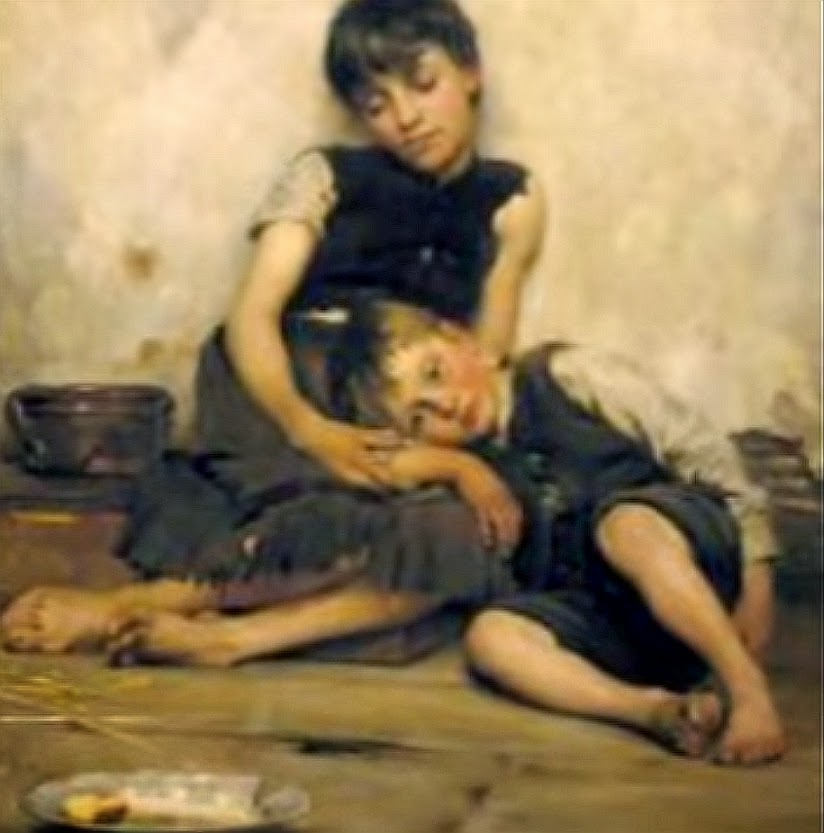 It's just a painting; but it reminds me of Lisa consoling her sobbing brother Terry while they sat on the floor after Davis attacked them on Christmas, having the brothers move out all their furniture and Christmas presents.  Lisa sat on the floor holding and consoling her sobbing hysterical special needs brother.