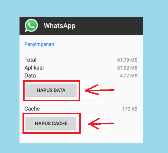 Hapus Cache dan Hapus Data WhatsApp