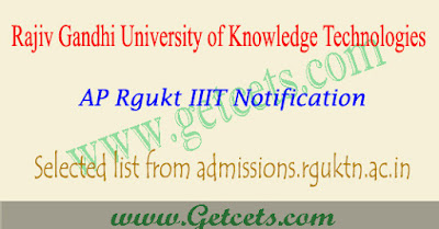 AP Rgukt IIIT Selection list 2019-2020, admission results