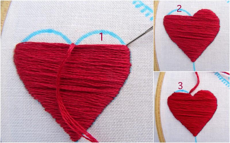 Hướng dẫn thêu trái tim màu đỏ - Hình 4