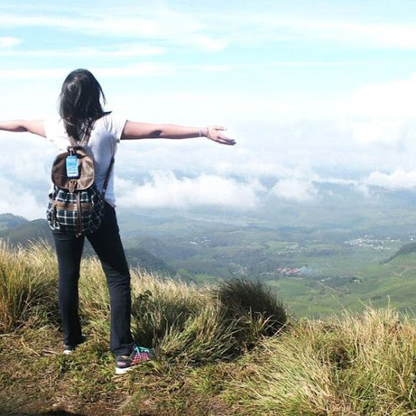 Girl travel mountain breathe happy