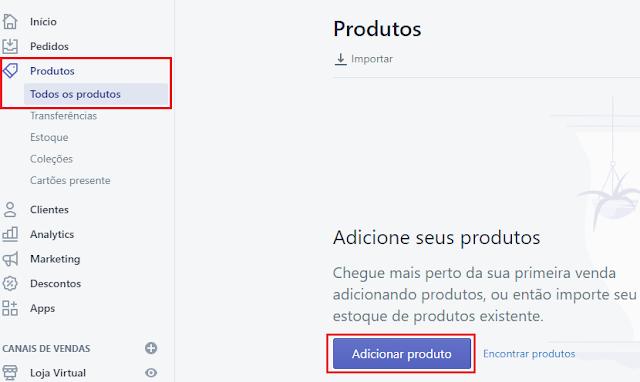 como adicionar produtos na loja virtual shopify