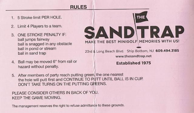 Minigolf scorecard from The Sandtrap at 23rd & Long Beach Boulevard in Ship Bottom, New Jersey, USA. Photo by Pat Sheridan, 2021