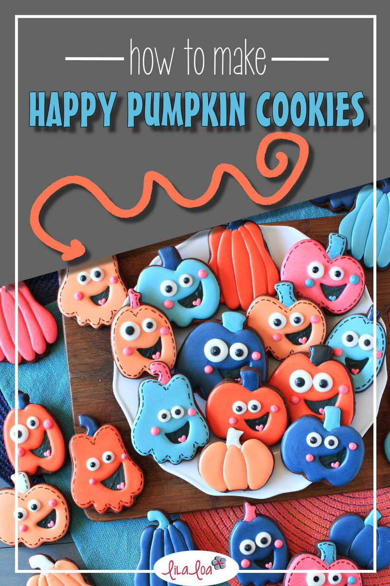 Fall and Halloween pumpkins in blue, orange, and pink icing