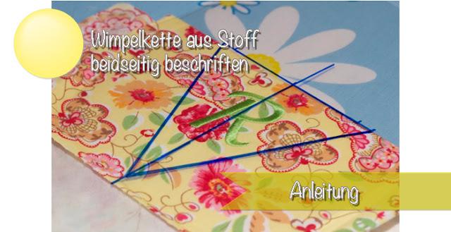 Wimpelkette aus Stoff mit beschriftung auf beiden Seiten