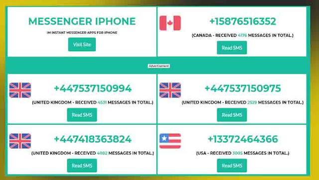 موقع receivesmsonline للحصول على ارقام مجانية لاستقبال الرسائل و تفعيل الحسابات