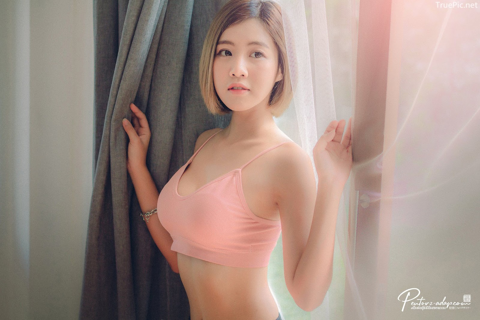 Thailand Cute Model - Fah Chatchaya Suthisuwan - Pink Lovely Fitness Sports Bra - TruePic.net - Picture 4