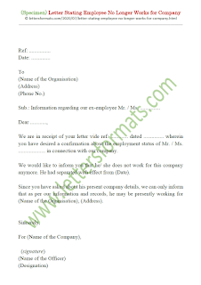 sample letter employee no longer with company