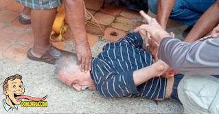 Viejo Chavista detenido por los vecinos al caerle a machetazos a su mujer en Carabobo