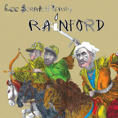 Lee Perry is depicted in three poses, riding horses into battle: one brandishing a sword, another a bow and arrow, and the third urging his followers forward into the fight.