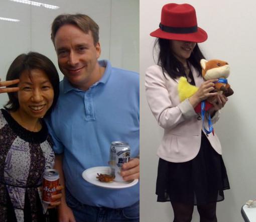 リーナス・トーバルズ氏と日本の女子。レッドハットの帽子を被った女の子。