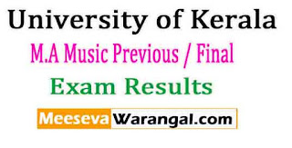 University of Kerala M.A Music Previous / Final SDE July/Sept 2016 Exam Results