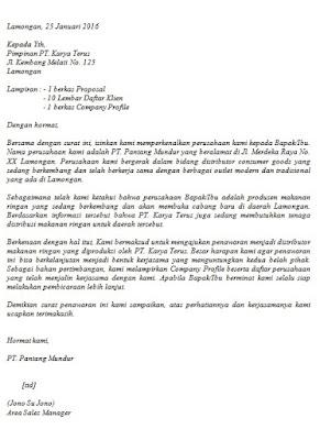 Contoh Surat Penawaran Barang/Jasa