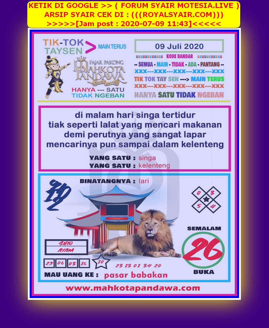 Kode syair Hongkong Kamis 9 Juli 2020 114