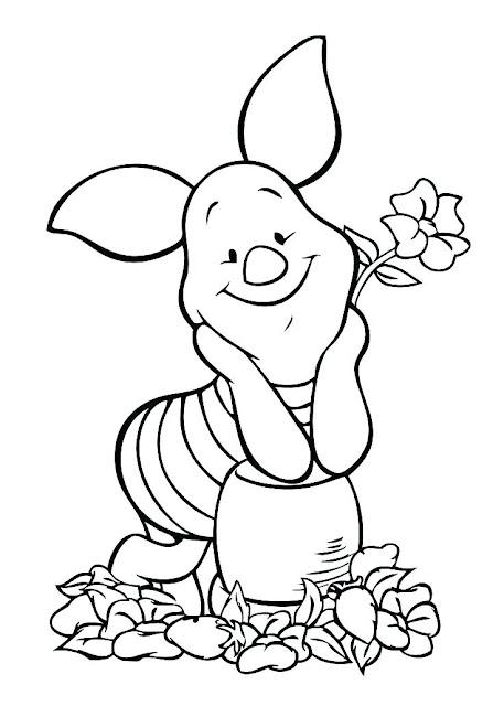 dibujo parra colorear de  el cerdito Pigget con una flor