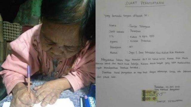 Viral Nenek 67 Tahun Tolak BLT hingga Buat Surat Pernyataan Bermaterai, Merasa Masih Sehat & Kuat