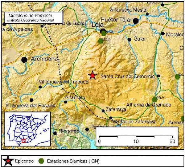 Terremoto en  Zafarraya, Granada, sentido en Málaga