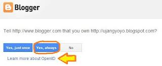 Notifikasi OpenID Blogger