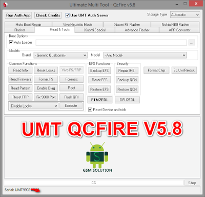 UMT-UMT Pro QcFire V5.8 Latest Update Download For Huawei,Nokia,Panasonic &Vivo UFS Chip.
