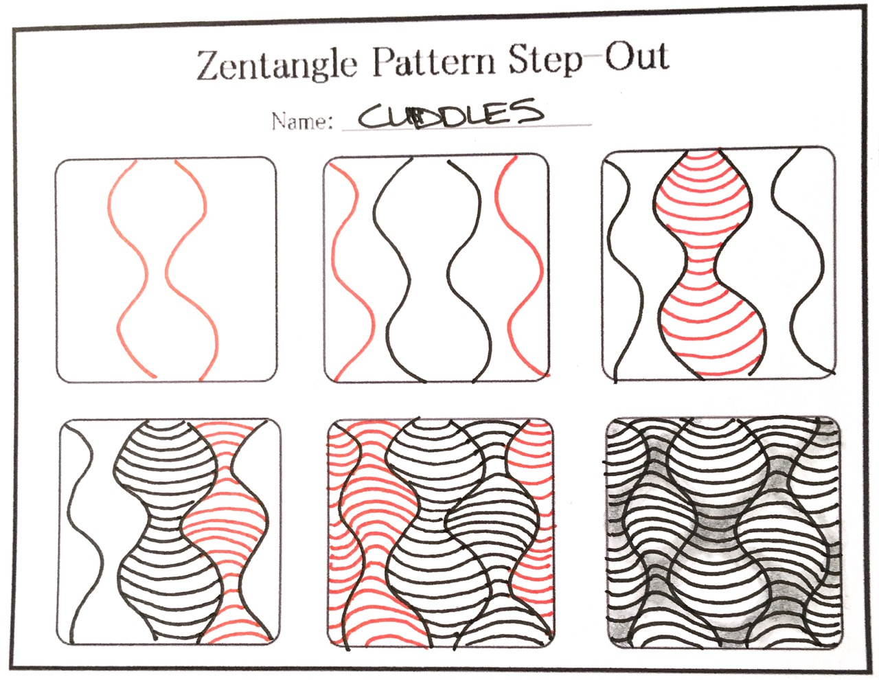How to Draw the Zentangle Pattern Cuddles, with shading ...