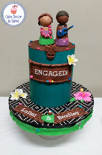 Teal Colored Ganache Hawaii Fondant Tiki Ukulele Frangipani Hibiscus Couple Cake Topper Engagment pre Wedding Cake Extended Tier
