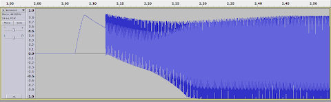 [Image: Screenshot showing the oscillogram viewer of Audacity. 500 milliseconds of a signal is shown, beginning as a thin line that suddenly makes a positive rise, a slightly slower fall and then changes into a wide, solidly filled surface, with a lighter color in the middle.]