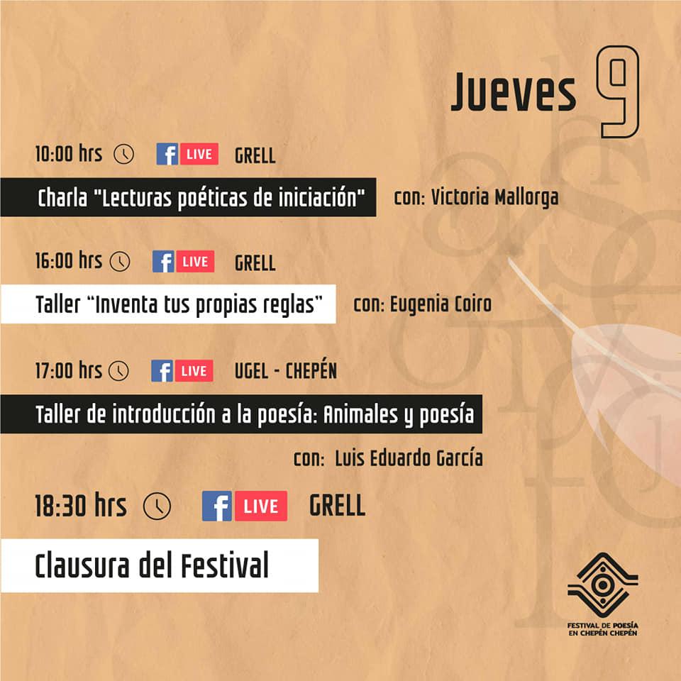 Programación del Festival de  Poesía Chepén