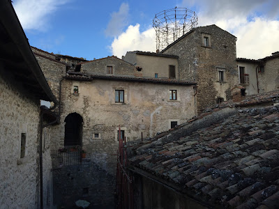 View of Santo Stefano di Sessanio Tower Scaffolding