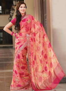 Pure-indian-chiffon-sarees-with-blouse-for-summer-for-girls-7