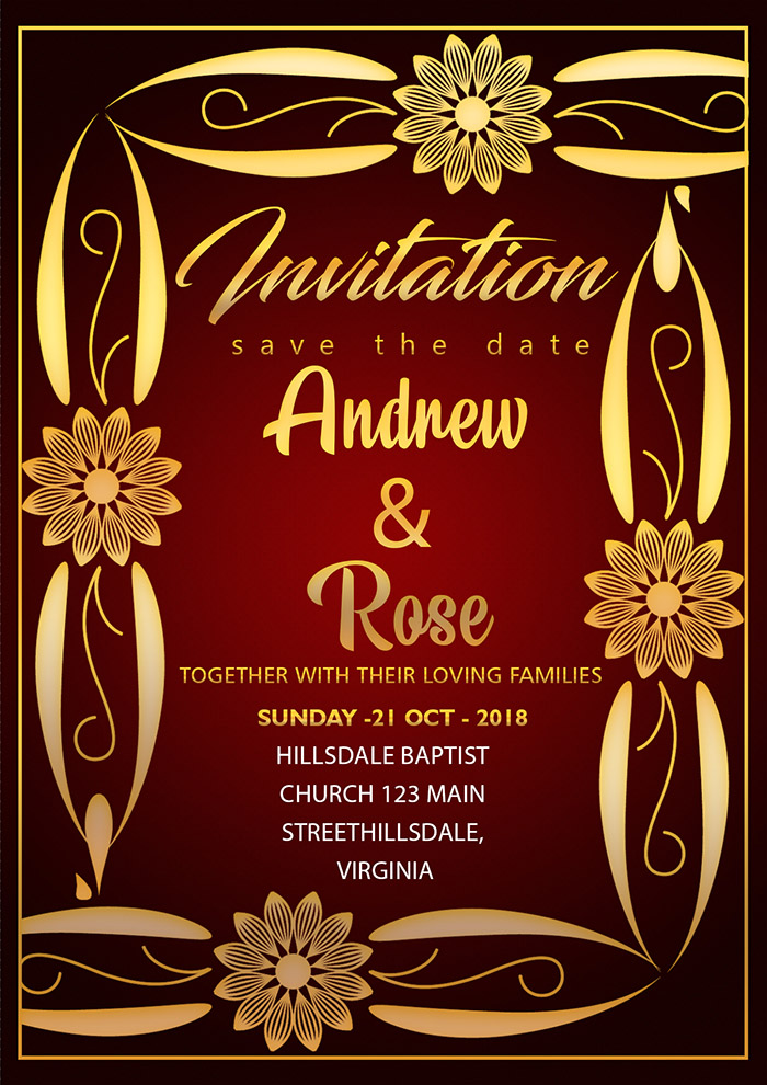 Romantic Wedding Invitation Card Template With Gold Frame And Border