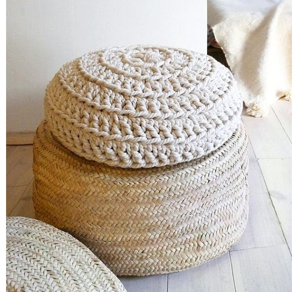 best cute round table with  white linen crochet pouf for sofa corner