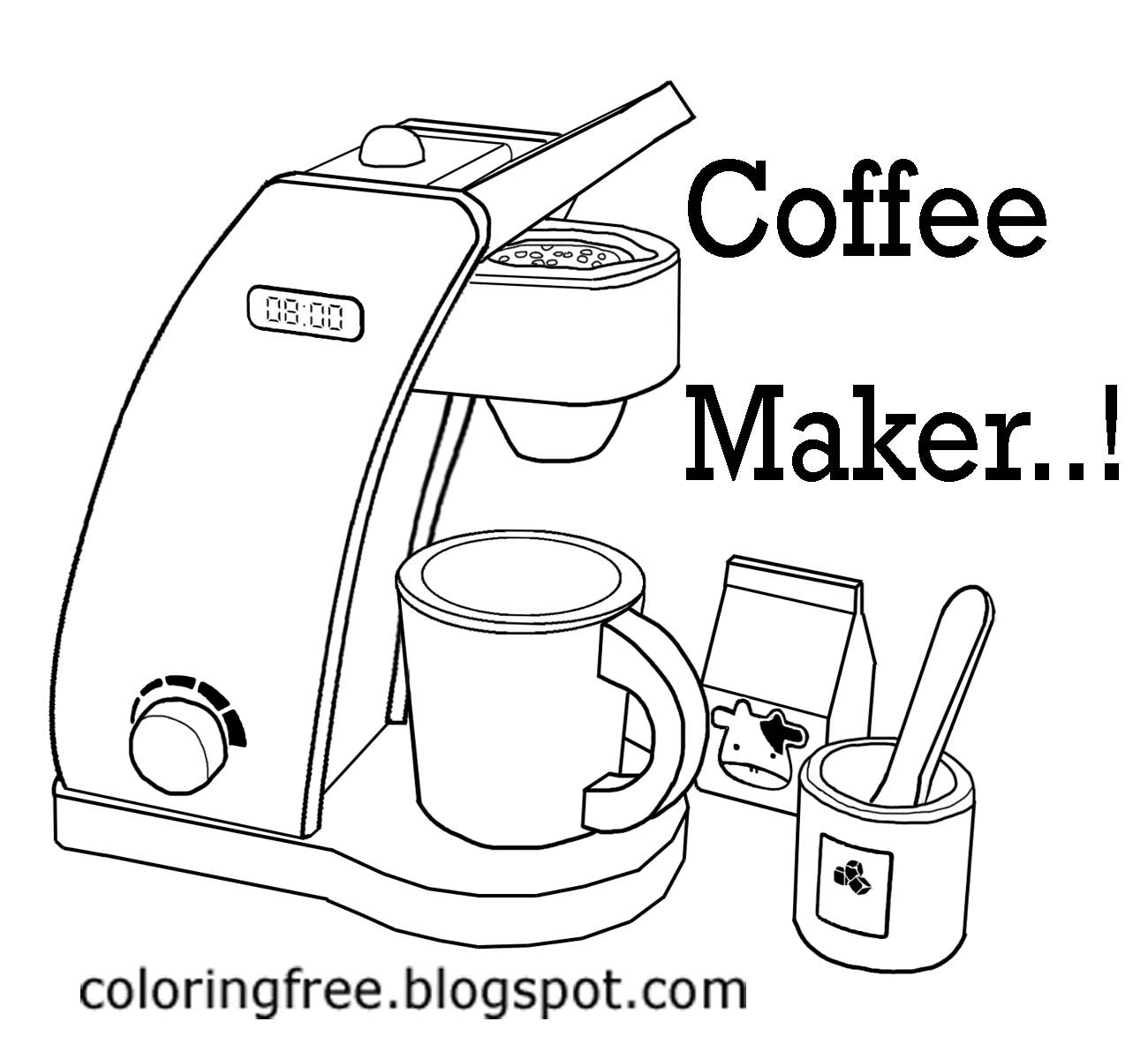 Coffee Art Maker Set Free Coloring Pages Printable Pictures To Color Kids And