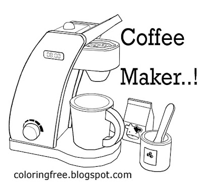 Simple clipart drink printable pictures to color online coloring for kids coffee maker kitchen set