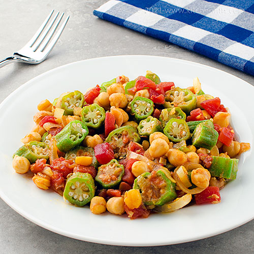 Okra, Tomato, and Chickpea Curry