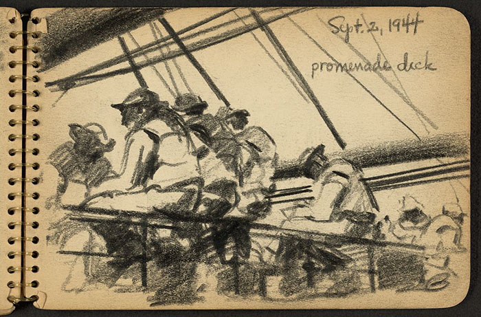 21-Year-Old WWII Soldier's Sketchbooks Show War Through The Eyes Of An Architect - Soldiers Sitting On Promenade Deck Of Ship