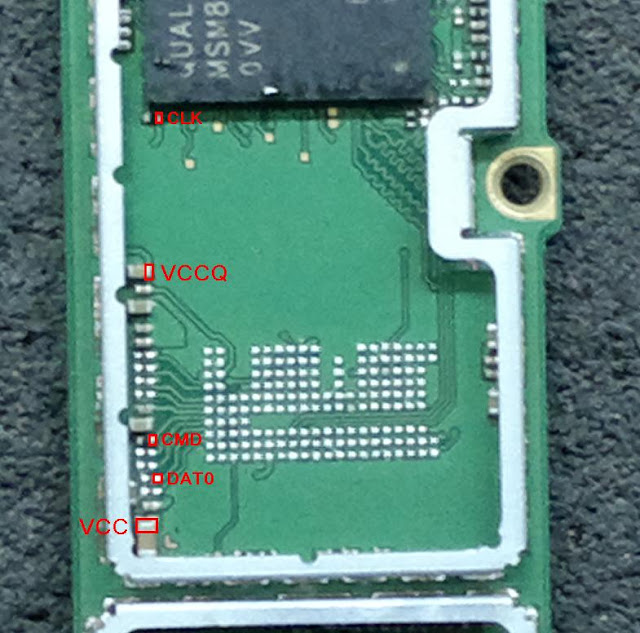 eMMC Pin Out of Nokia X2 DS RM-1013