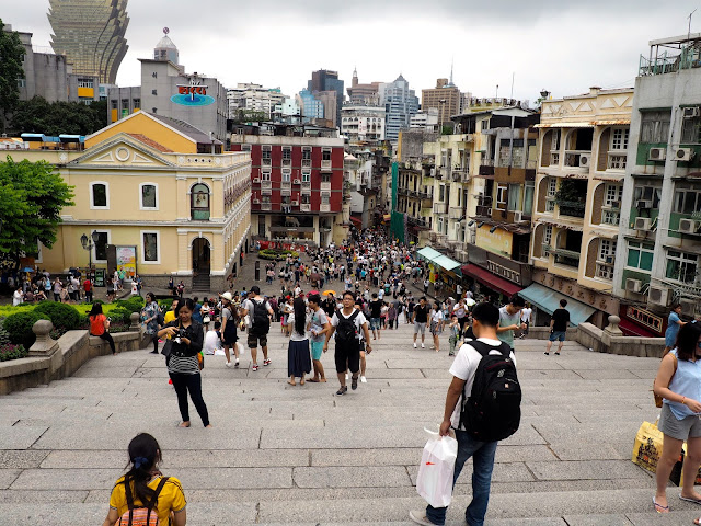 View of Senado Square old town and Grand Lisboa from the top of the stairs at the Ruins of St Paul, Macau
